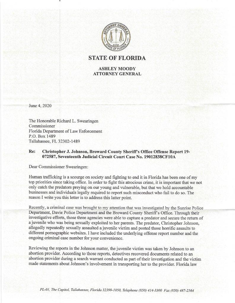Personhood Alliance - Florida AG letter, abortion, Pornhub case