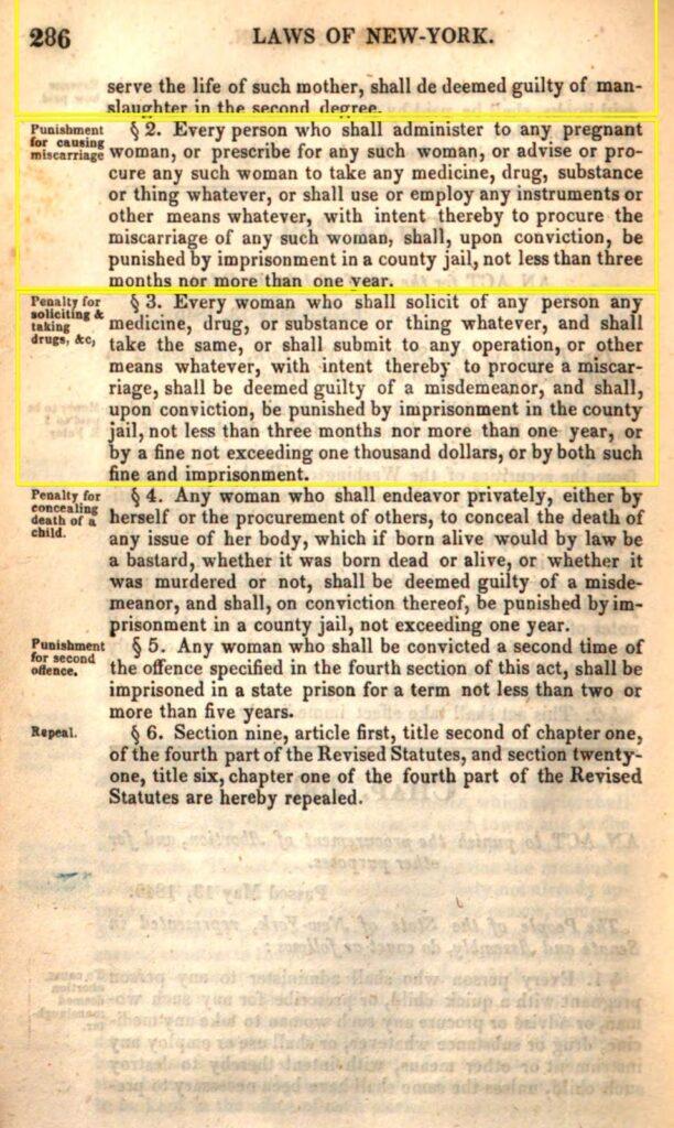 Personhood Alliance - 1845 New York abortion laws