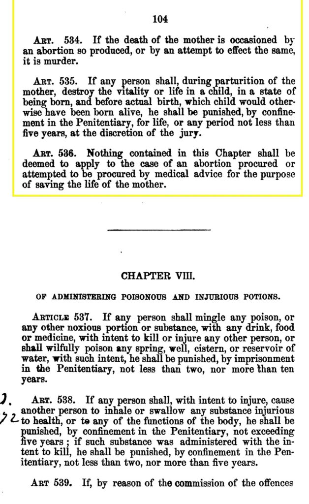 Personhood Alliance - 1859 Texas abortion laws